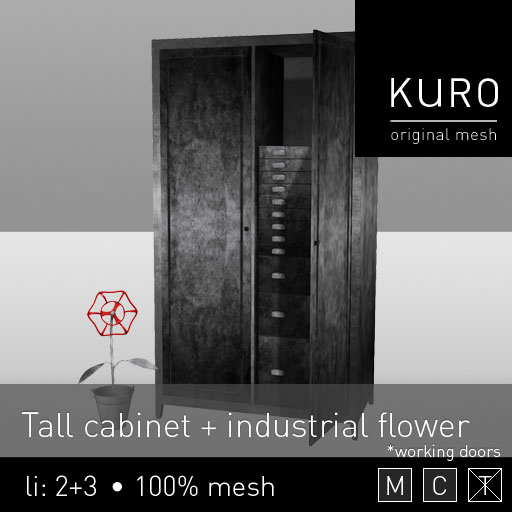 Kuro - Tall cabinet + industrial flower